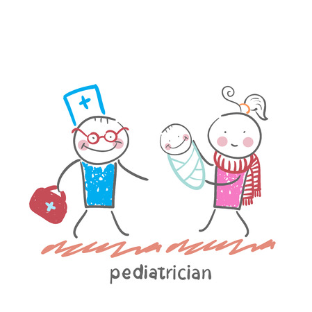 pediatrician: pediatrician stands next to her mother and sick child Illustration
