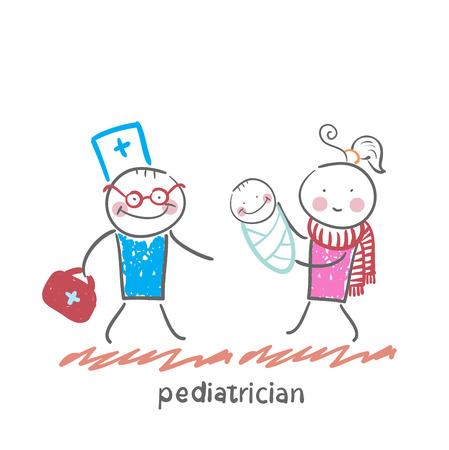 pediatrician stands next to her mother and sick child Ilustração