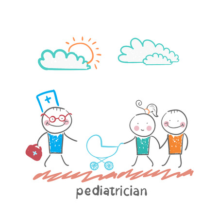 came: pediatrician came to the sick child in the stroller parents