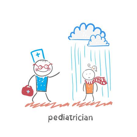 pediatrician talking to a sick child in the rain Illustration