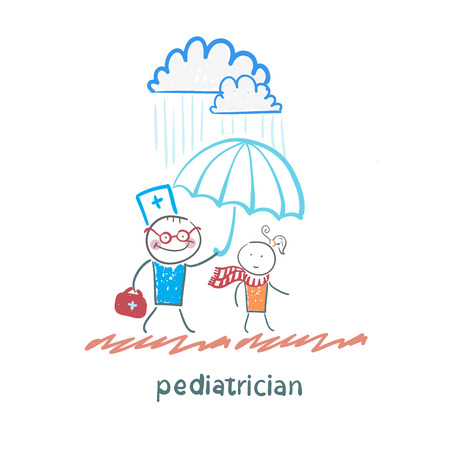 kid doctor: pediatrician holding an umbrella over the child in the rain
