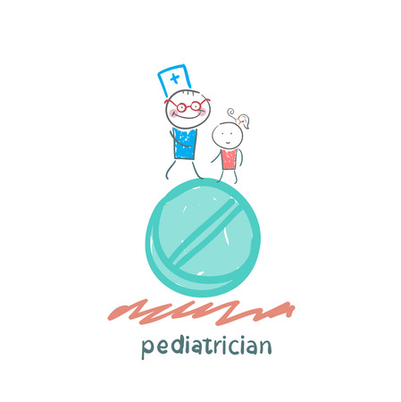 pediatric: pediatrician with a child standing on a huge tablet