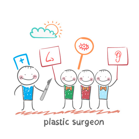 plastic surgeon  looks at people with placards which painted the nose, ear, eye Illusztráció