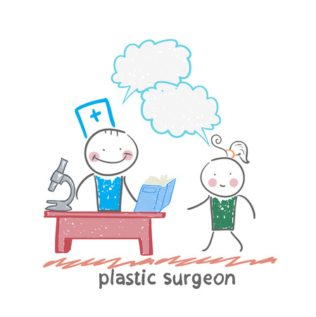 plastic surgeon t work talking to a patient