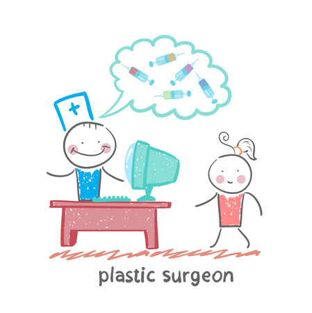 beauty surgery: plastic surgeon at the computer says about the operation with the patient Illustration