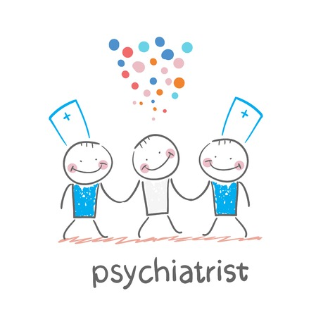 Psychiatrists go to the patient, which is crazy Illustration