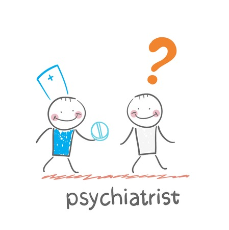 psychiatrist gives the patient a pill crazy Illustration
