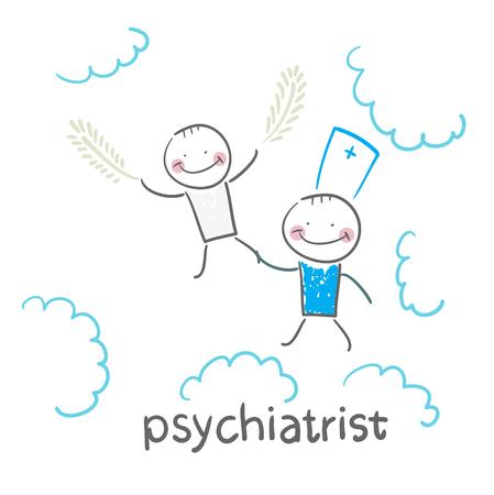 psychiatrist with patient flies in the sky Vettoriali