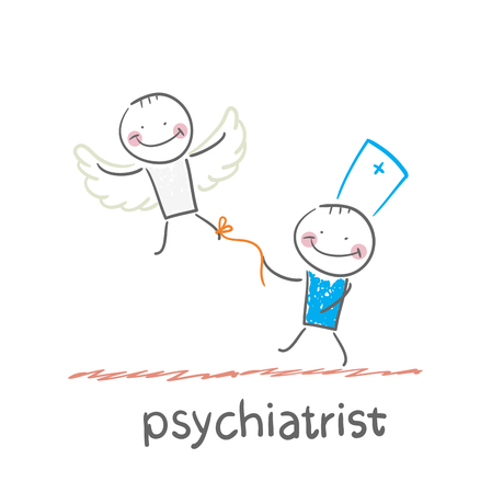 psychiatrist: psychiatrist keeps bound patient, that he did not fly away Illustration