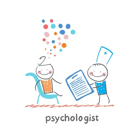 psychologist with a folder, and the patient's head exploded