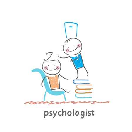 psychologist: psychologist is on a stack of books and looks inside the patients head Illustration