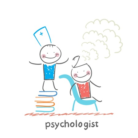 psychologist: psychologist is on a stack of books and produces steam from the patients head