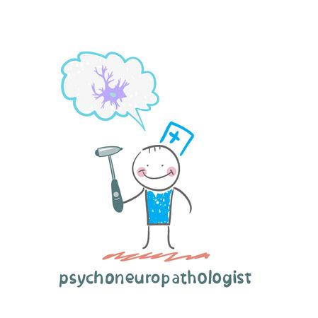 cellule nervose: psychoneuropathologist in possesso di un martello e pensa di cellule nervose
