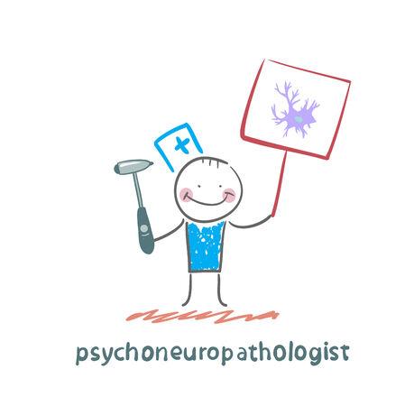 nervenzelle: psychoneuropathologist wird mit einem Plakat, wo die Nervenzelle gezogen