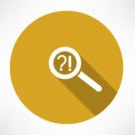 Question mark, exclamation point and magnifying glass Vector