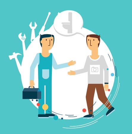 plumber talking with a client illustration Vector
