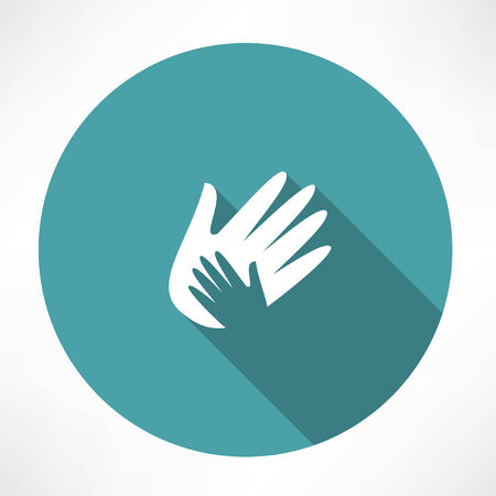 Hand holds hand icon.