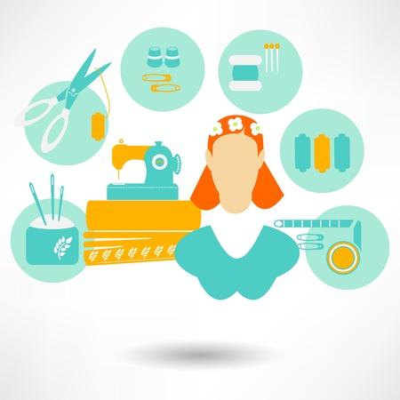 costurera: Mujer Trabajo de costurera en la m�quina de coser. Ilustraci�n vectorial Vectores