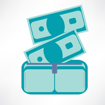Full wallet, flat icon isolated on a blue background for your design, vector illustration Vector