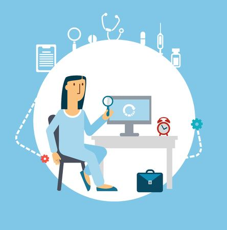 doctor looking at Computer illustration