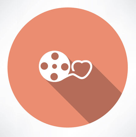 lopsided: Love movie reel with hearts Illustration
