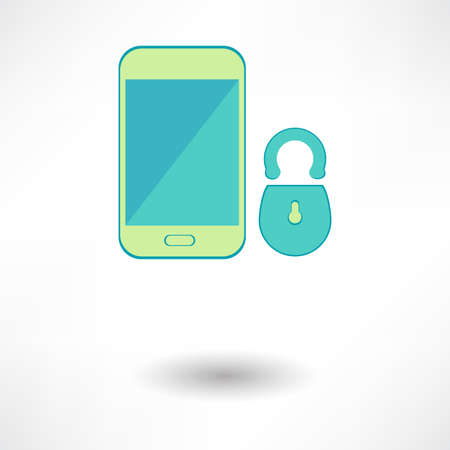 White smart phone infographic element with lock icon in the middle with 3d effect. Eps10 vector illustration. Vector