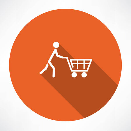 super market: man with trolley icon
