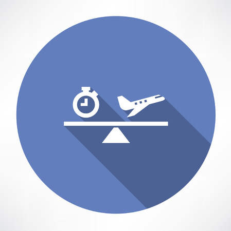 plane icon: clock and airplane on the scales icon