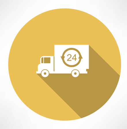 24 hour: a truck delivery 24h icon