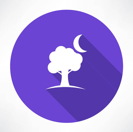 crescent: tree and moon icons Illustration