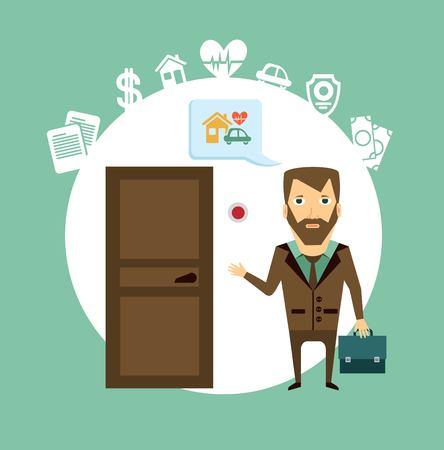 insurance agent rings the doorbell illustration Vector