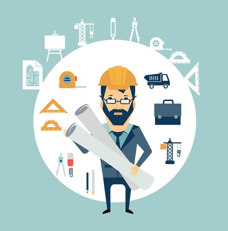 Architect holding blueprints illustration Vector
