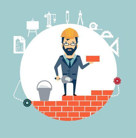 site: architect building a house brick by brick illustration Illustration