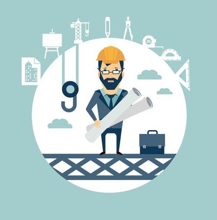 arquitecto caricatura: arquitecto se encuentra en lo alto de una obra de construcción y supervisa la construcción de ilustración