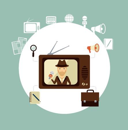 TV journalist acts in direct effire llustration 向量圖像