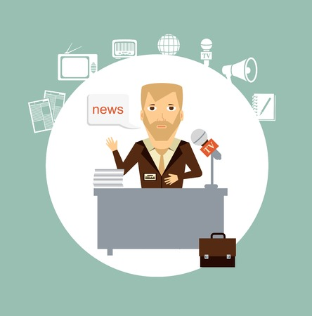 tells: journalist tells the news while sitting at the table llustration Illustration
