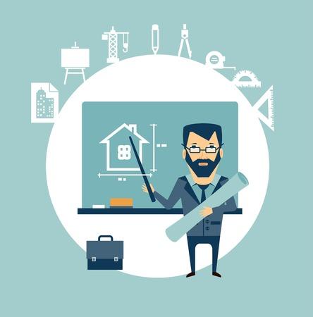 arquitecto caricatura: arquitecto enseña ilustración Vectores