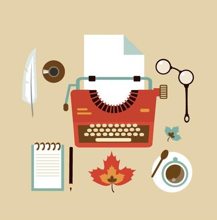 creative writer: desktop typists illustration