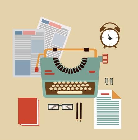 type writer: desktop typists illustration  illustration