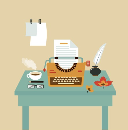 Desktop Schreibkräfte Illustration Vektorgrafik