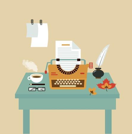 mecanógrafos de escritorio ilustración Ilustración de vector