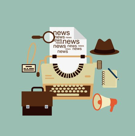 content writing: typewriter, hat, paper sheets, magnifying glass, notebook, speaker, journalist badge illustration Illustration