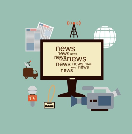 dreary: journalist says TV news illustration Illustration