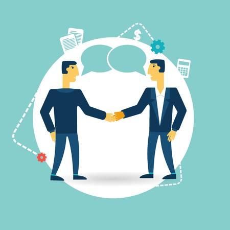 mid adult men: businessmen shaking hands illustration Illustration