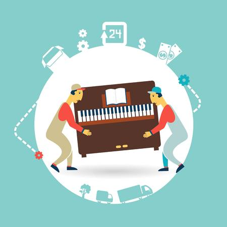front loading: movers carry furniture piano illustration
