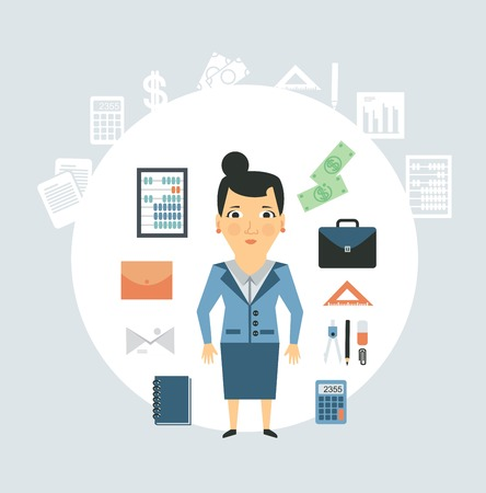 Accountant of working things illustration Vector