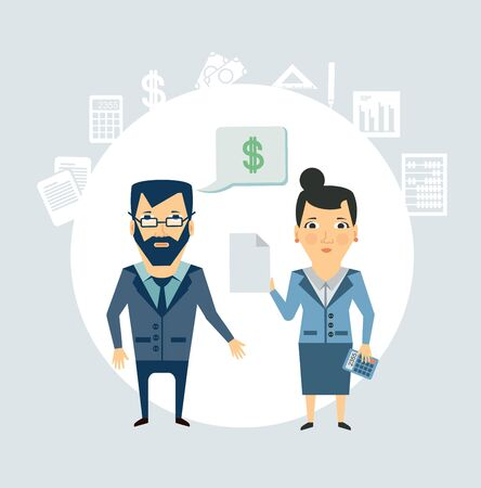 Accountant tells the client illustration Vector