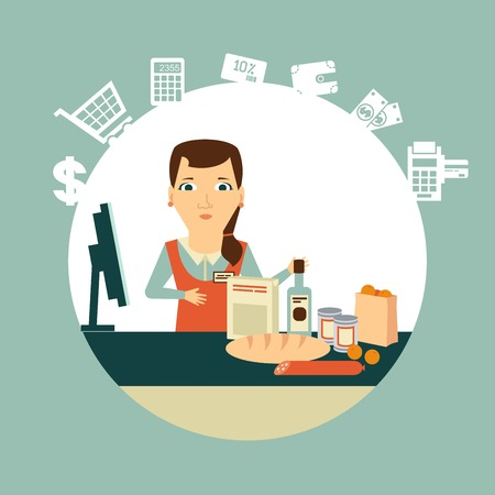 grocery store cashier at work illustration Ilustracja