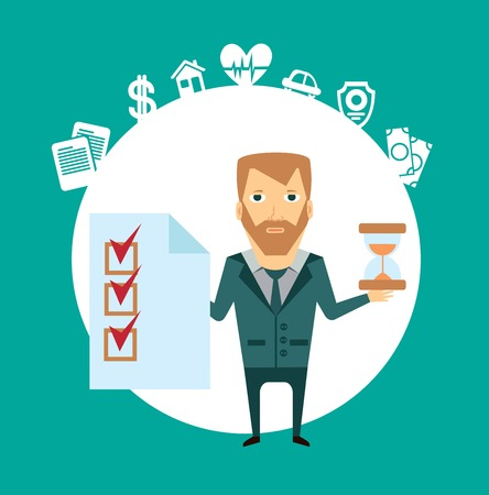 insurance agent holds in one hand a document, and in the other hand hourglass illustration Vector