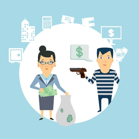 robbery: bank robbery  illustration Illustration